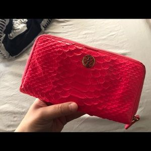 Tory Burch Hot Pink Snake Skin Wallet